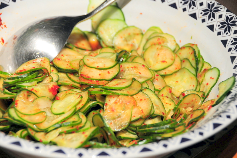 Korean pickled cucumber salad