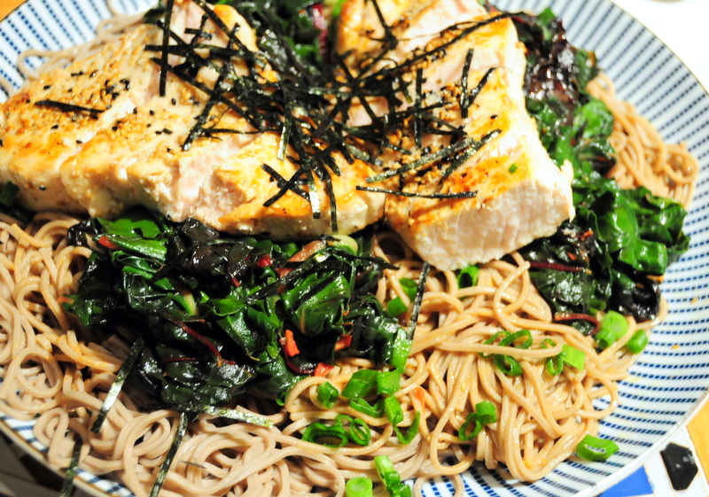 sesame and onion seed crusted sword fish with buckwheat soba and chard sauté