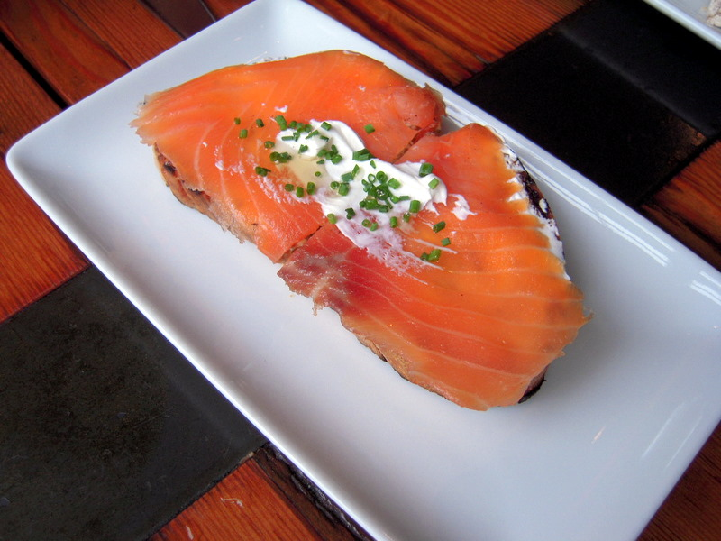 smoked salmon with yoghurt and honey open faced sandwich