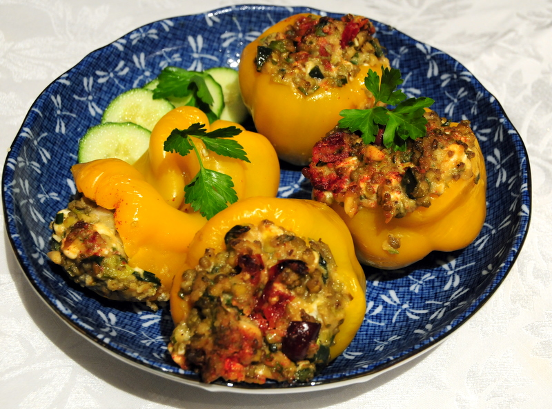 yellow bell peppers stuffed with mung bean, feta and fresh herbs
