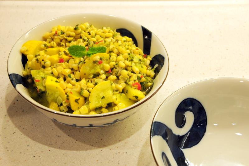 yellow squash and corn in spicy three chile, garlic, basil sauce