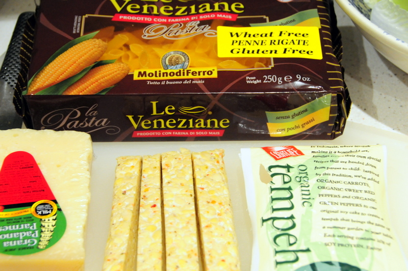 key ingredients for corn penne with tempeh in black pepper sauce