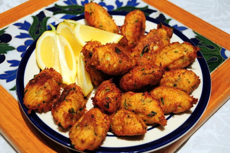 salt cod fritters aka bolinho de bacalhau, or pasteis de bacalhau