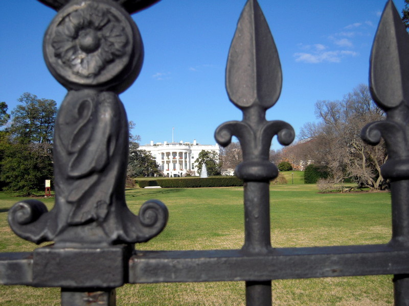 the ornate black fence that prevented us from inspecting the White House Kitchen Garden a bit more closely