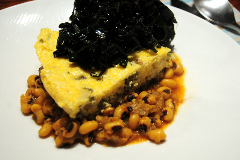 black-eyed peas with purple kale and polenta