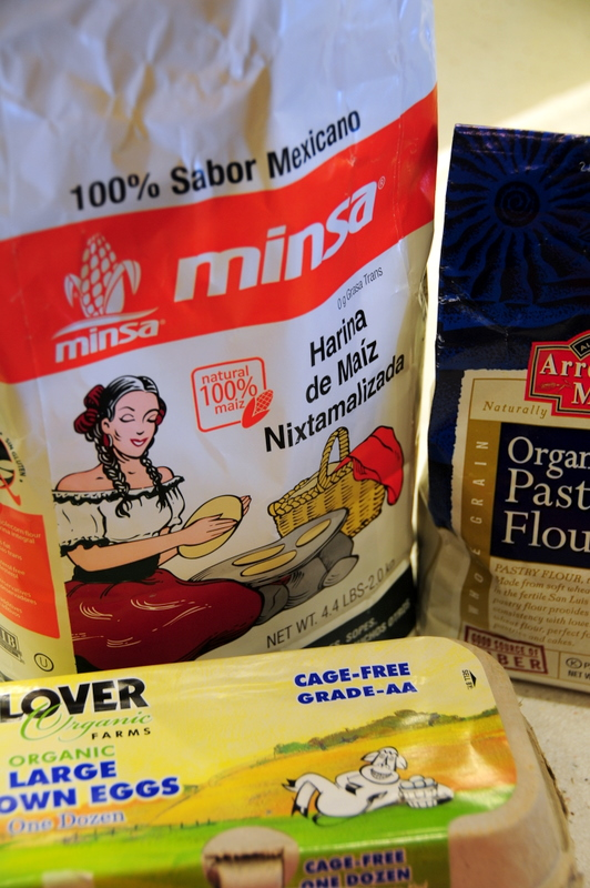 key ingredients for Brazilian style corn cake with Mexican nixtamalized corn flour