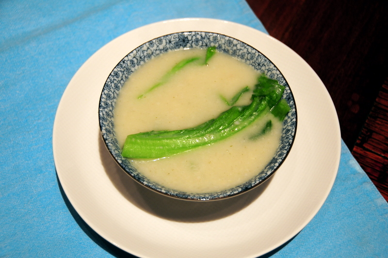 taro root and mustard green soup