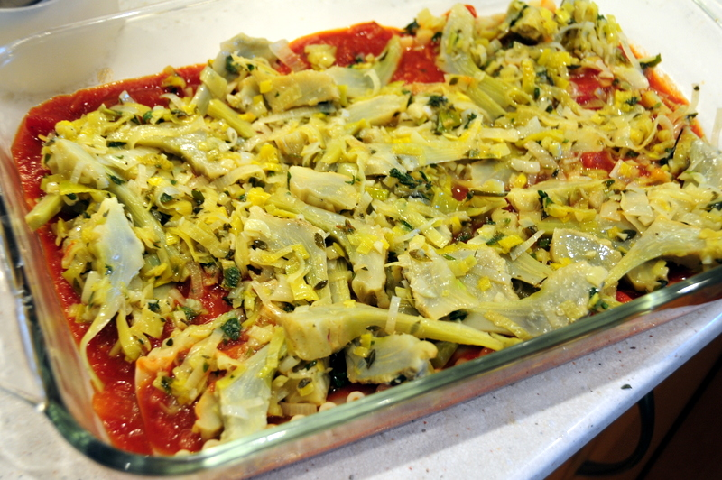 the veggie layer for artichoke leek lasagna
