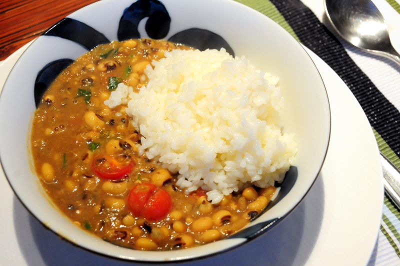 Indian inspired black-eyed pea curry