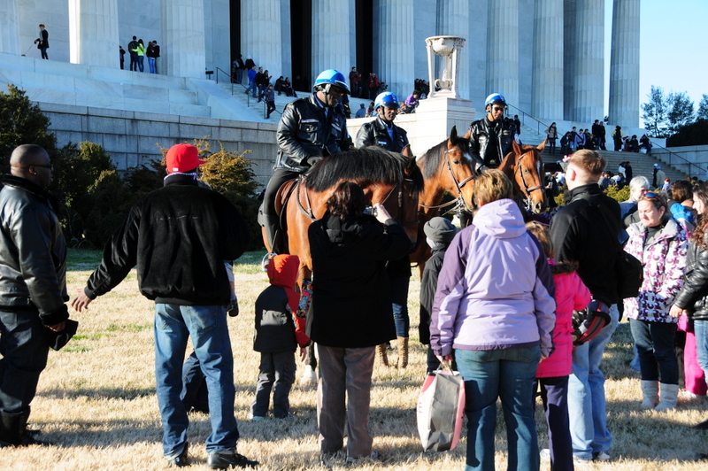 a crowd of spectators gather in front of mounted police at The Mall in Washington, D. C.