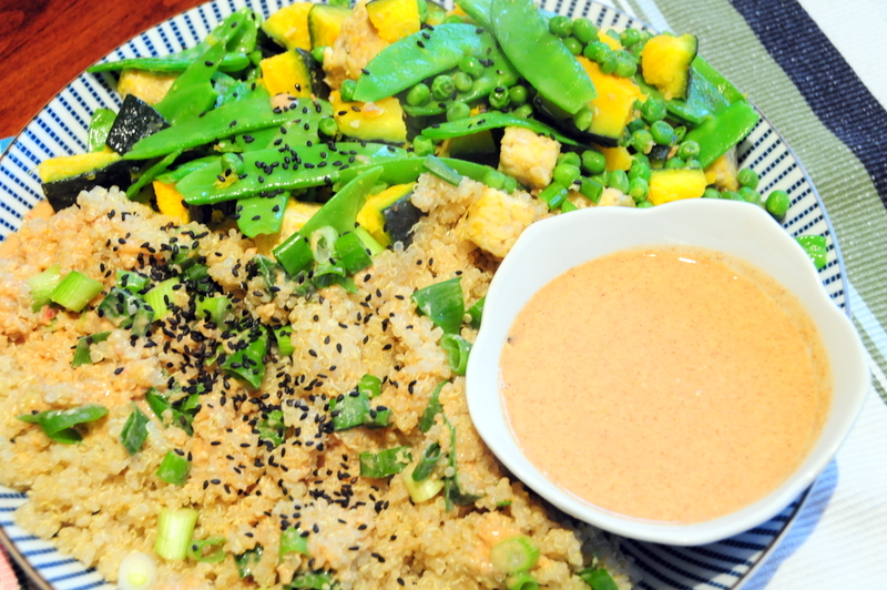 springtime garden tempeh with snow and garden peas, Kabocha with quinoa and almond butter sauce