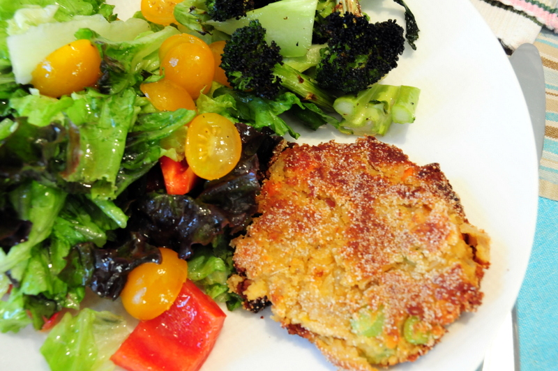fried red lentil patty with leafy salad