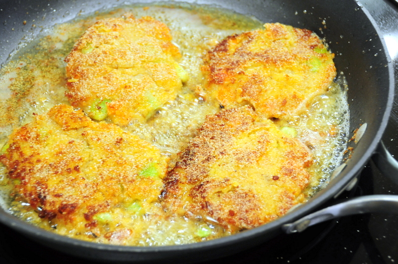frying up the red lentil patties