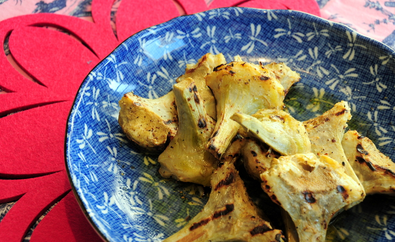 grilled artichokes with Meyer lemon