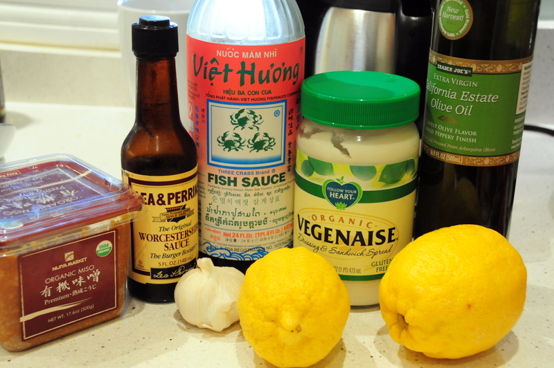 key ingredients for zippy improv Caesar dressing