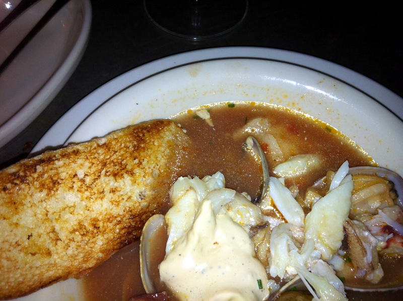 my rather sad cioppino with Dungeness crab