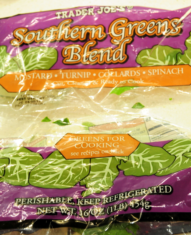my used bag of Trader Joe's Southern Greens Blend