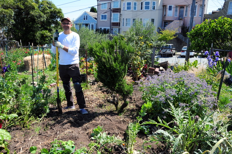 smiling in the new plot before the work really began--my back wasn't hurting then