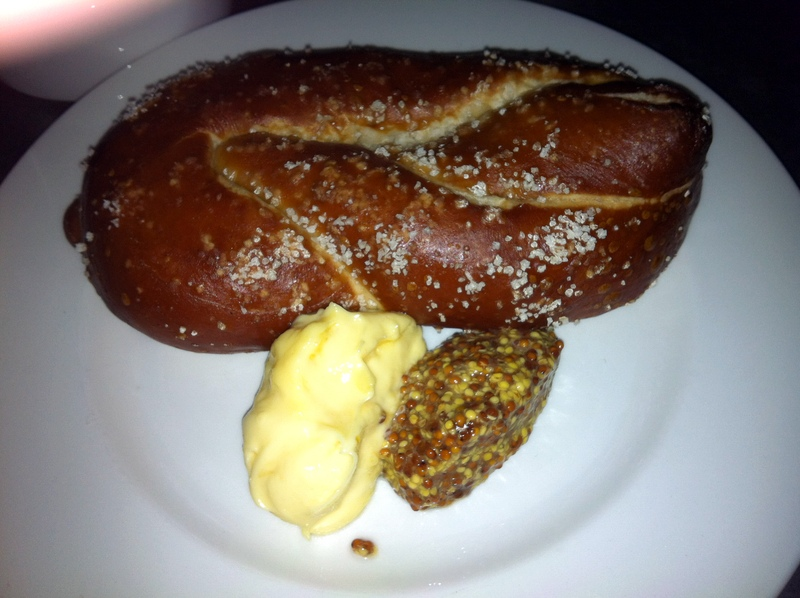 soft pretzel with mustard--it looks funny, no