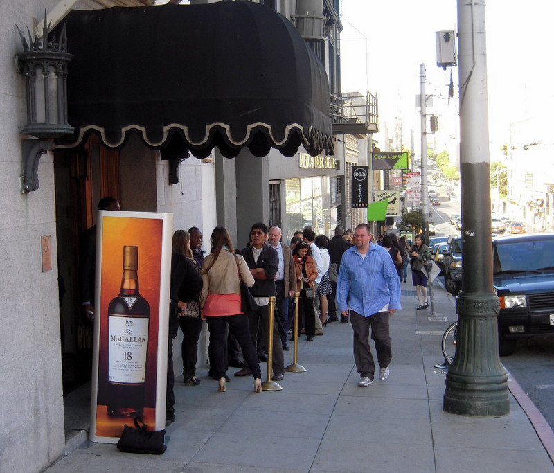the line builds for The Macallan tasting event