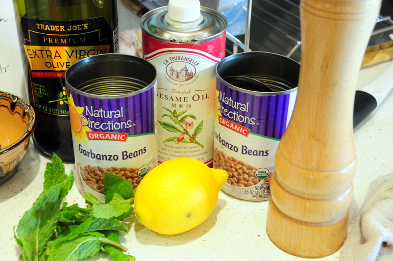 key ingredients for roasted asparagus and chickpeas with toasted sesame oil, Meyer lemon and fresh mint
