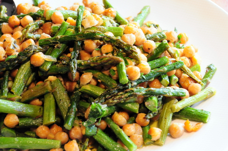 roasted asparagus and chickpeas with toasted sesame oil, Meyer lemon and fresh mint