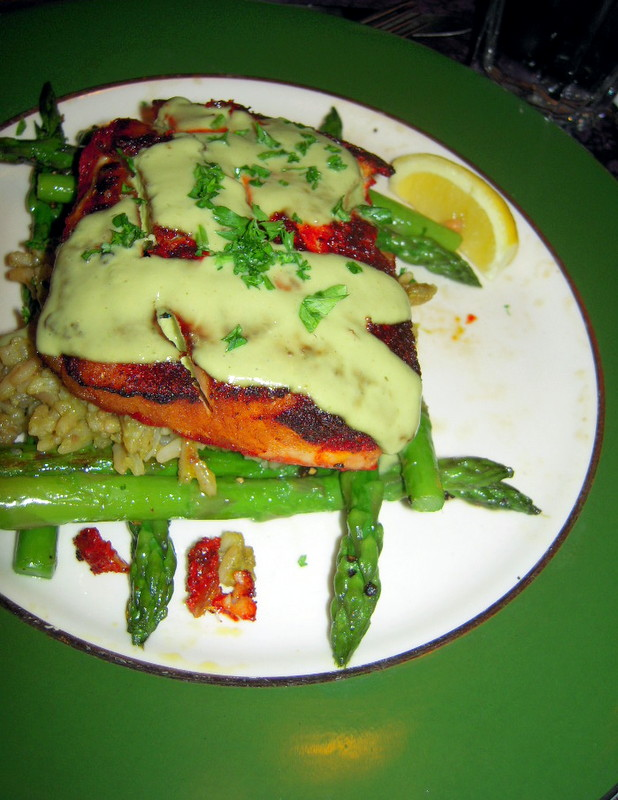 the special fish was marlin in achiote crust with avocado sauce, cilantro, rice and asparagus