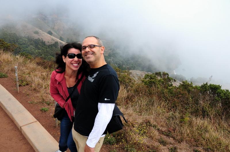 Juliana and I enjoying the wind and fog