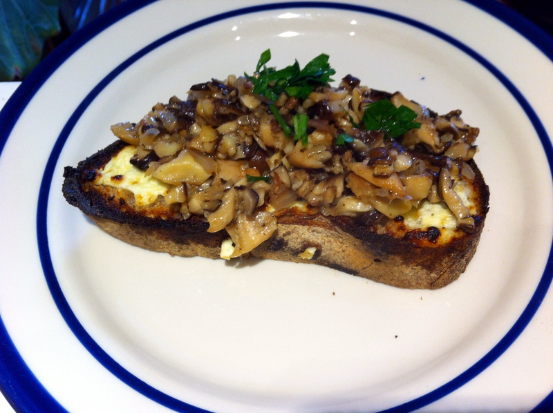 Shiitake mushrooms & fromage blanc on toast