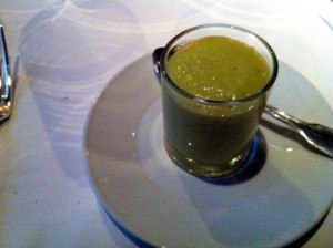 green apple arugula and avocado amuse bouche