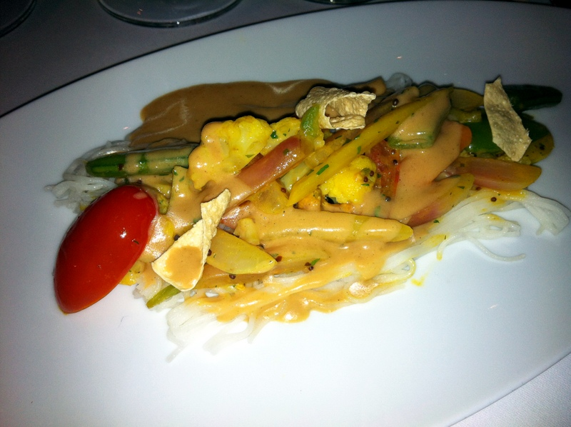instead of lamb, the chef prepared this lovely string halibut with veggies in a spicy cashew sauce