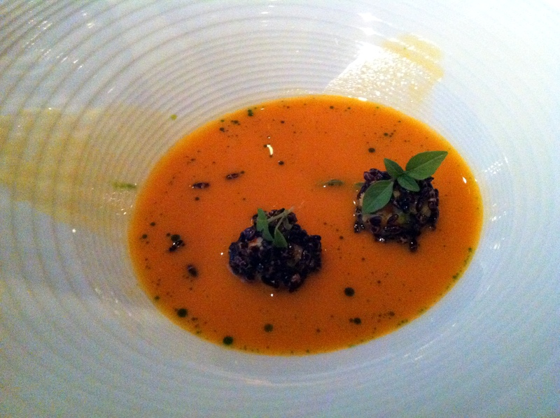 lobster veloute with red pepper and summer squash