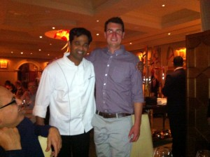 my only pic of Executive Chef Srijith Gopinathan with Littorai Assistant Winemaker John Wilson is not the best but I had to include it here