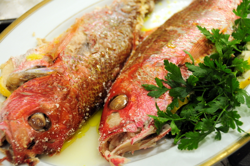 salt crusted red snapper with lemon and olive oil