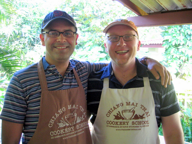 Steven and I at Thai cooking school in Chiang Mai--in 2005
