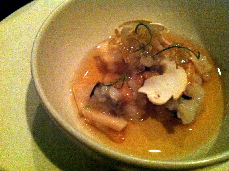 chilled porridge, abalone, matsutake mushroom, pine nut