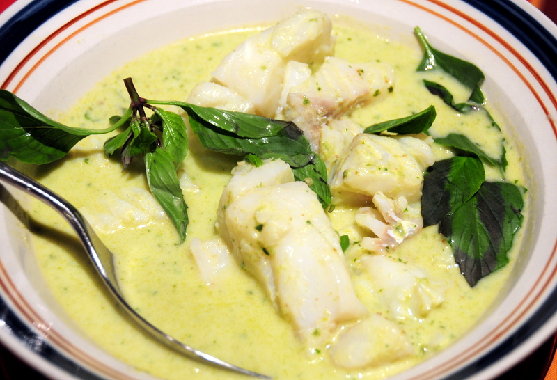 fresh Pacific cod in Thai green curry