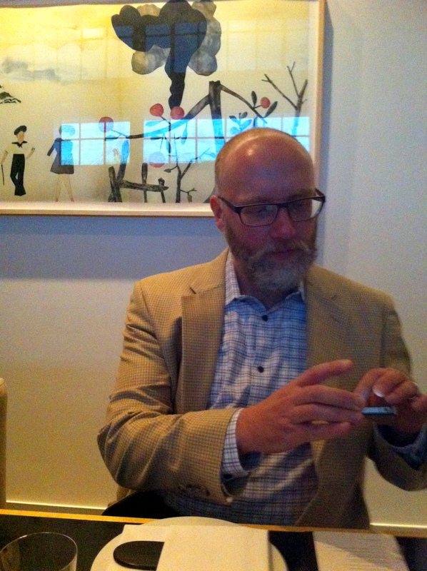 here I am getting my eye-phone ready for a gorgeous meal at Benu.  Can you see the picture on the wall behind me  I love it!