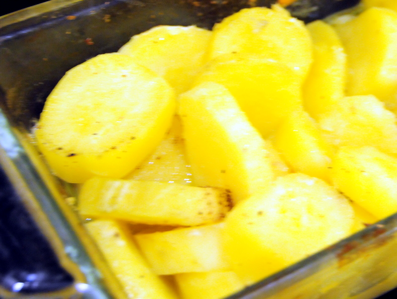 my somewhat blurry yet fabulous version of roasted white sweet potato in garlic and ginger