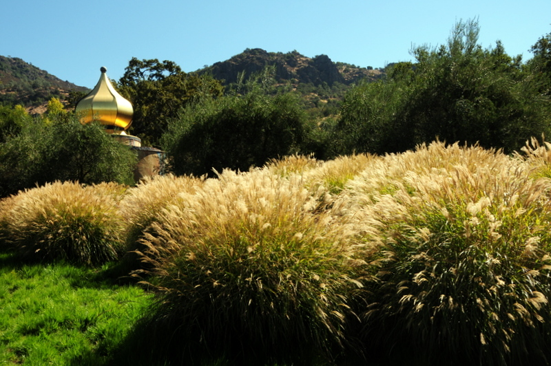 see Quixote's golden dome peeking over the lush grassy garden