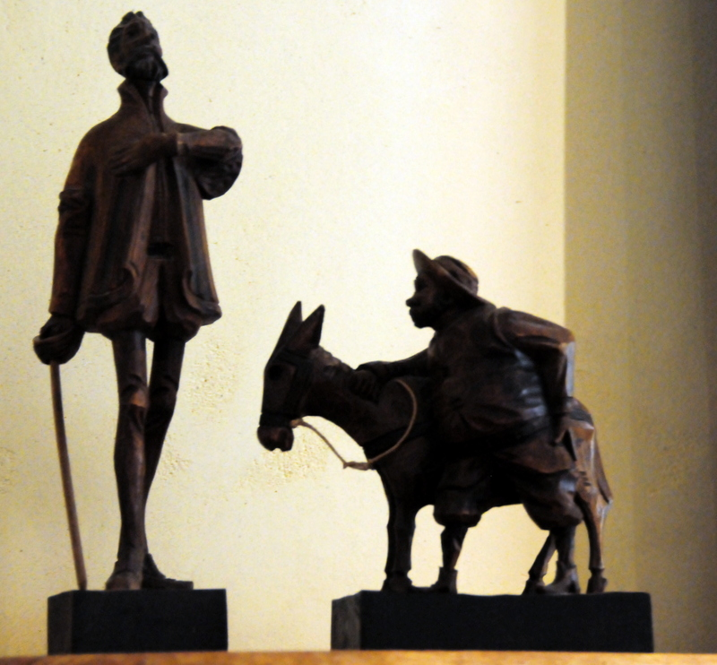 statuettes of Don Quixote and sidekick, Panza
