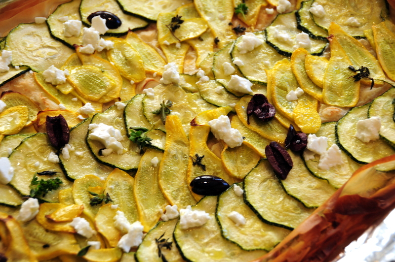 yellow crook squash and Italian zucchini tart with feta and olives