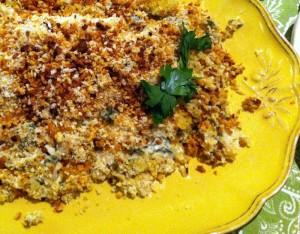 halibut in horseradish panko crust