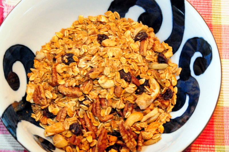 nut and seed granola with date and pomegranate molasses
