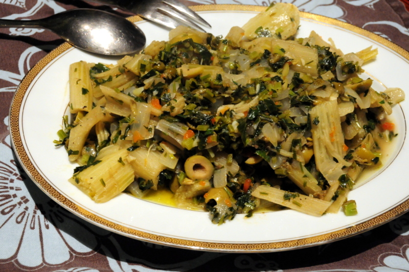 cardoon with garlic, caper, green olive and anchovy