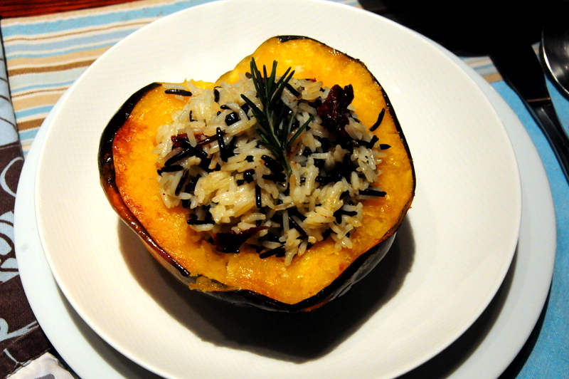 basmati and wild rice stuffed acorn squash