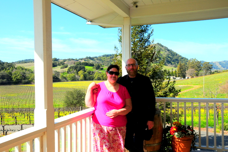 my aunt and I on the back porch at Michael Mondavi Family Estate
