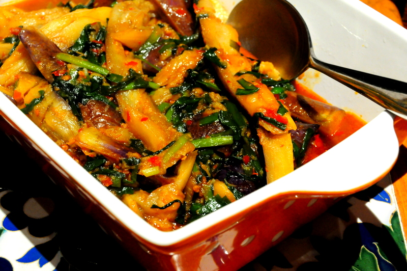 vegetarian Sichuan fried and braised eggplant
