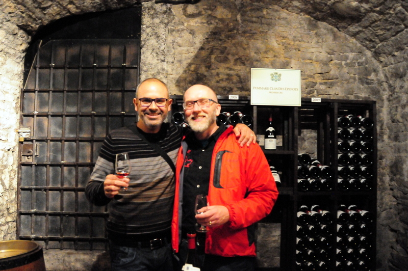 Hegui and I wine tasting in the caves at Château de Meursault