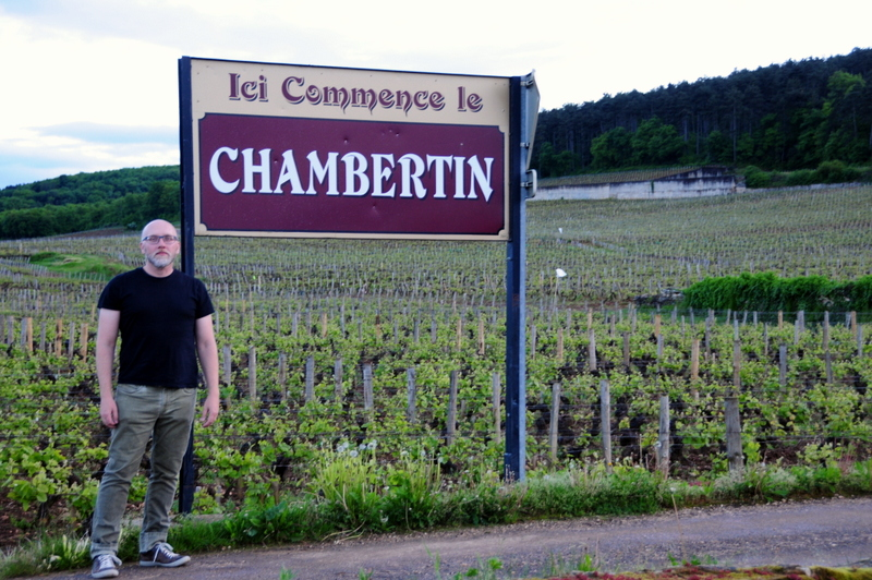 posing in front of the world famous Chambertin vineyard